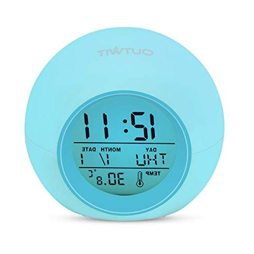 OUTWIT Version】, Digital Clock Colors Light Clock Boys Bedroom, with Temperature Calendar, Touch Snoozing