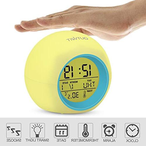 OUTWIT Kids Version】, Clock for Kids, 7 Colors Changing Light Bedside Clock for Bedroom, with Indoor Temperature Calendar, Touch Control Snoozing