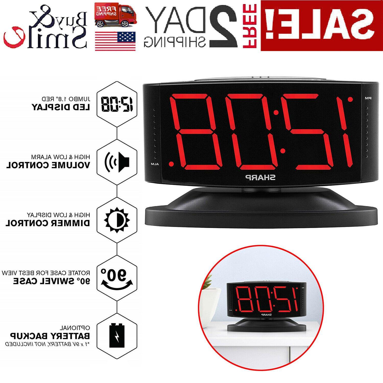 Large Digital Alarm Clock SHARP LED Display Swivel Base Elec