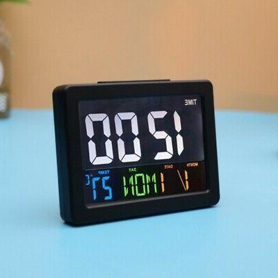 Large LED Digital Alarm Clock with Calendar Temperature Disp
