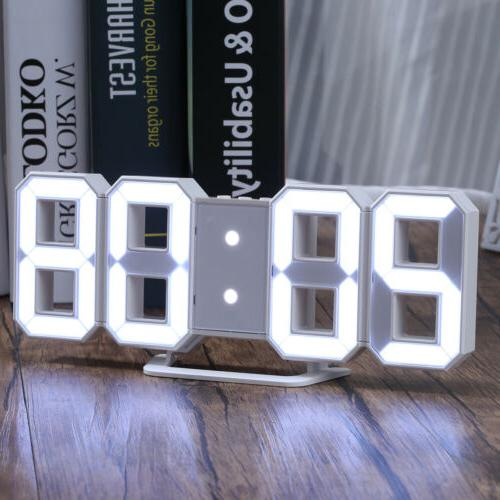 Large 3D LED Digital Alarm Snooze Wall Desk Clock Snooze 12/