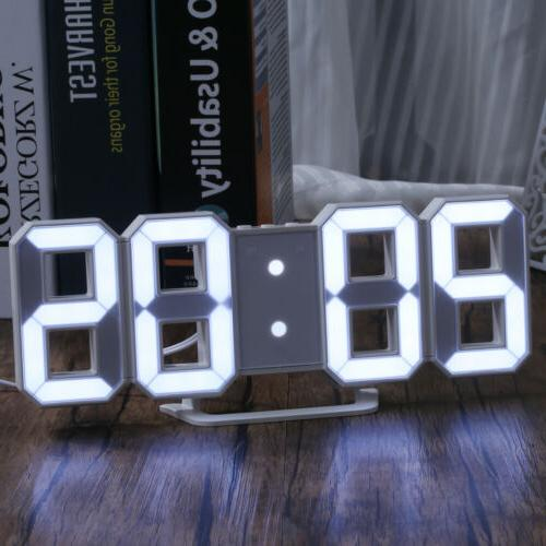Large Digital Alarm Clock Table Snooze Timer 3D USB