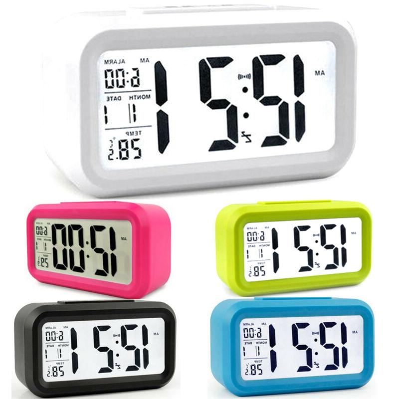Digital LCD Snooze Battery Operated Alarm Clock Time Tempera