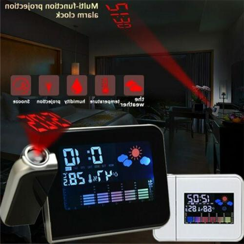 led alarm clock digital projection weather thermometer