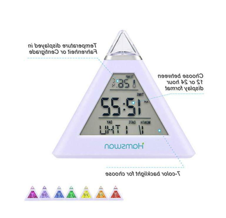 LED Digital Alarm Snooze Calendar Thermometer Color Display US