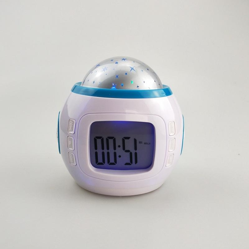 LED Snooze Starry Star Glowing <font><b>Alarm</b></font> <font><b>Clock</b></font> For Baby Calendar Thermometer Night Light Projector