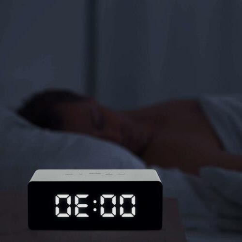LED Mirror Alarm Clock Night Lights Wall USB
