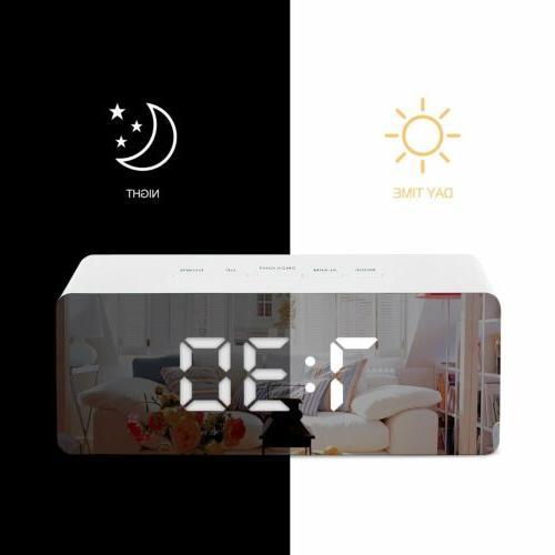 led digital mirror alarm clock night lights