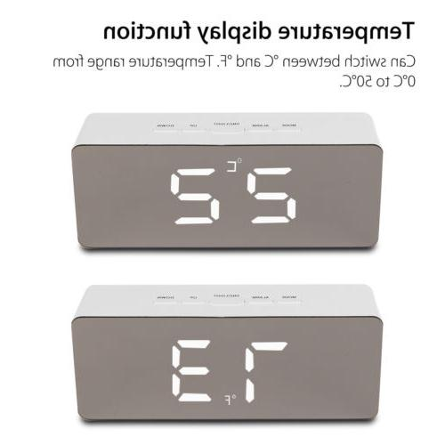 LED Digital Mirror Clock Night Lights Wall Clock With USB