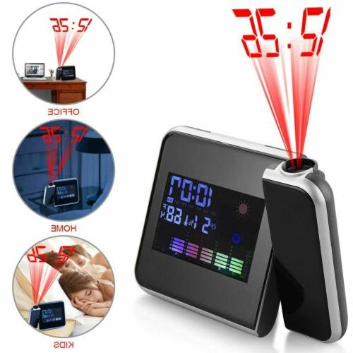 LED Projection Alarm Clock Weather Backlight