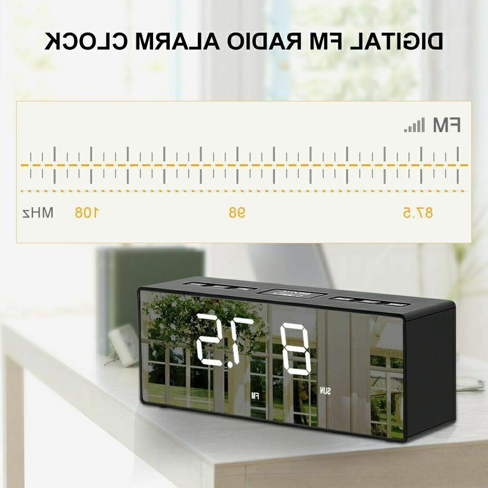 USB Digital LED Alarm Clock FM Ornaments Battery Operated
