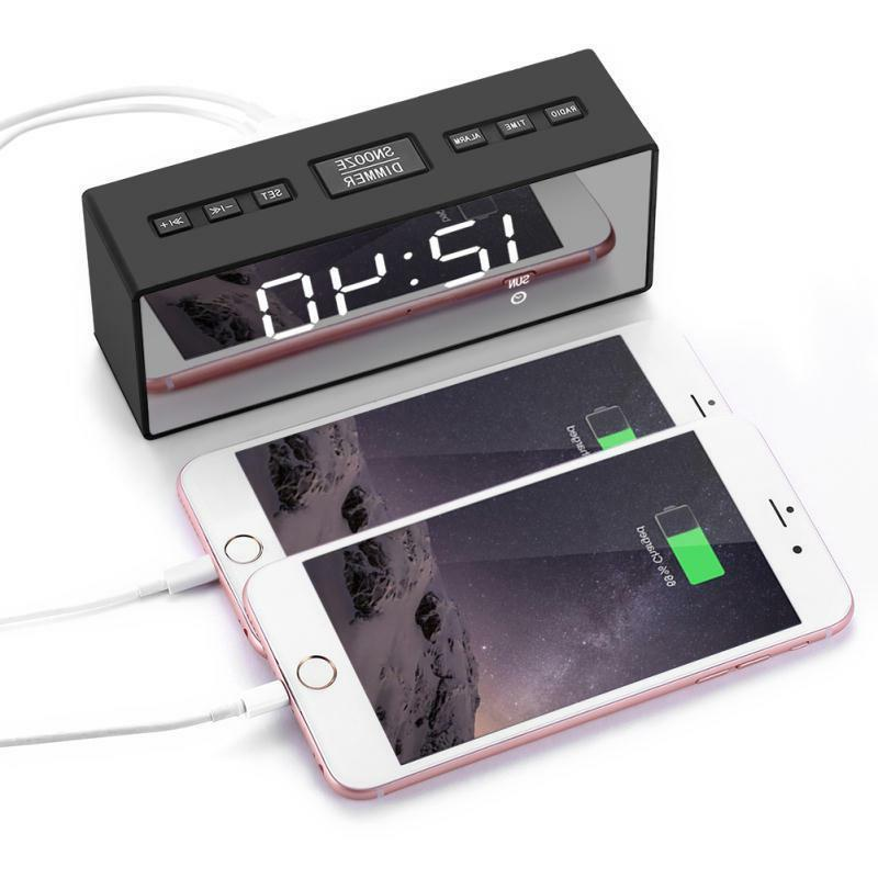 USB Clock FM Ornaments Battery Mirror Radio