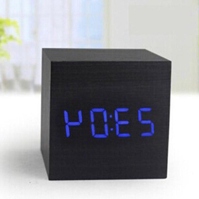 LED Table Wood USB/AAA Date Display Sound Square