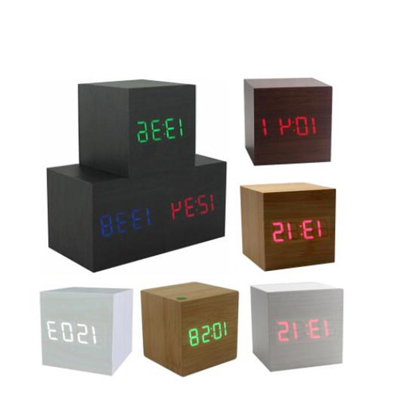LED <font><b>Alarm</b></font> <font><b>Clock</b></font> Desktop Table Digital Thermometer USB/AAA Date Display Multicolor Square