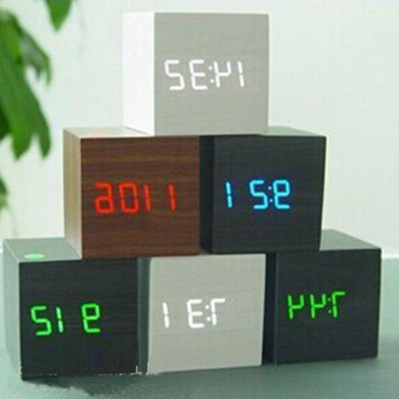 LED <font><b>Alarm</b></font> Table Digital USB/AAA Date Sound Control Wooden