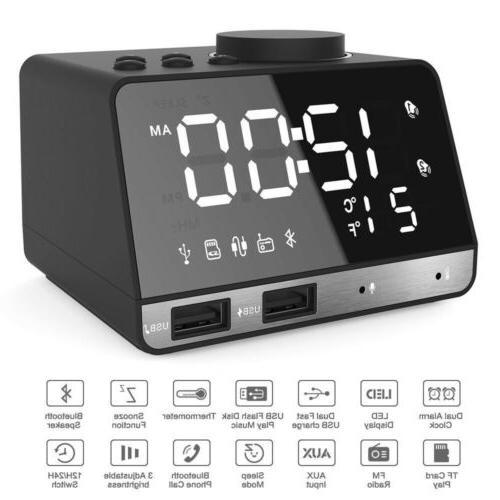 LED Wireless Bluetooth Alarm FM with Dual Port