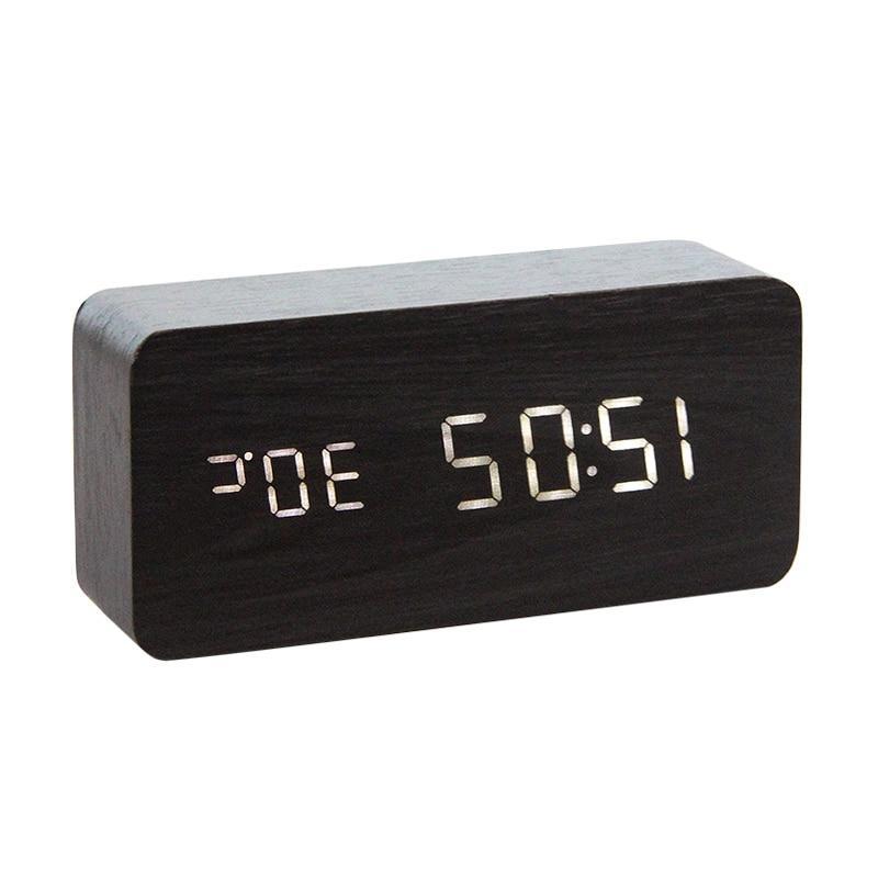 LED Wooden Watch Digital Wood Despertador Desktop Powered Table