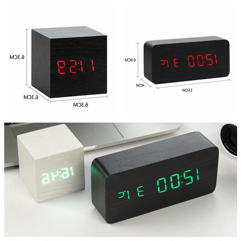 LED Wooden Watch Table Voice Digital Desktop <font><b>USB</b></font>/AAA <font><b>Clocks</b></font> Table