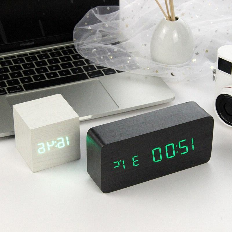 led wooden alarm font b clock b
