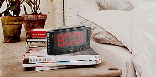 DreamSky Little Alarm Clock Clear Led Digit Display with Operate, Plug for Bedroom.