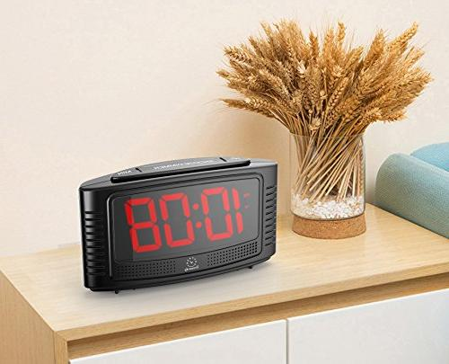 """DreamSky Little Digital Alarm Clock 1.2"""" Clear Led Digit Display with Dimmer, Simple Operate, Plug in Clock for Bedroom."""
