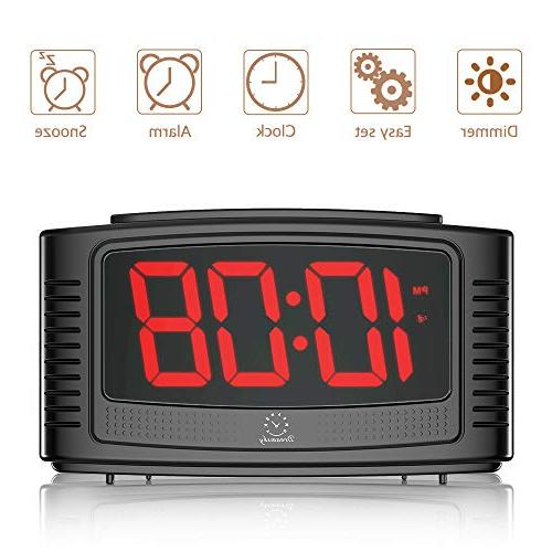 DreamSky Little Clock with Snooze, Clear Led with Dimmer, Operate, Plug for