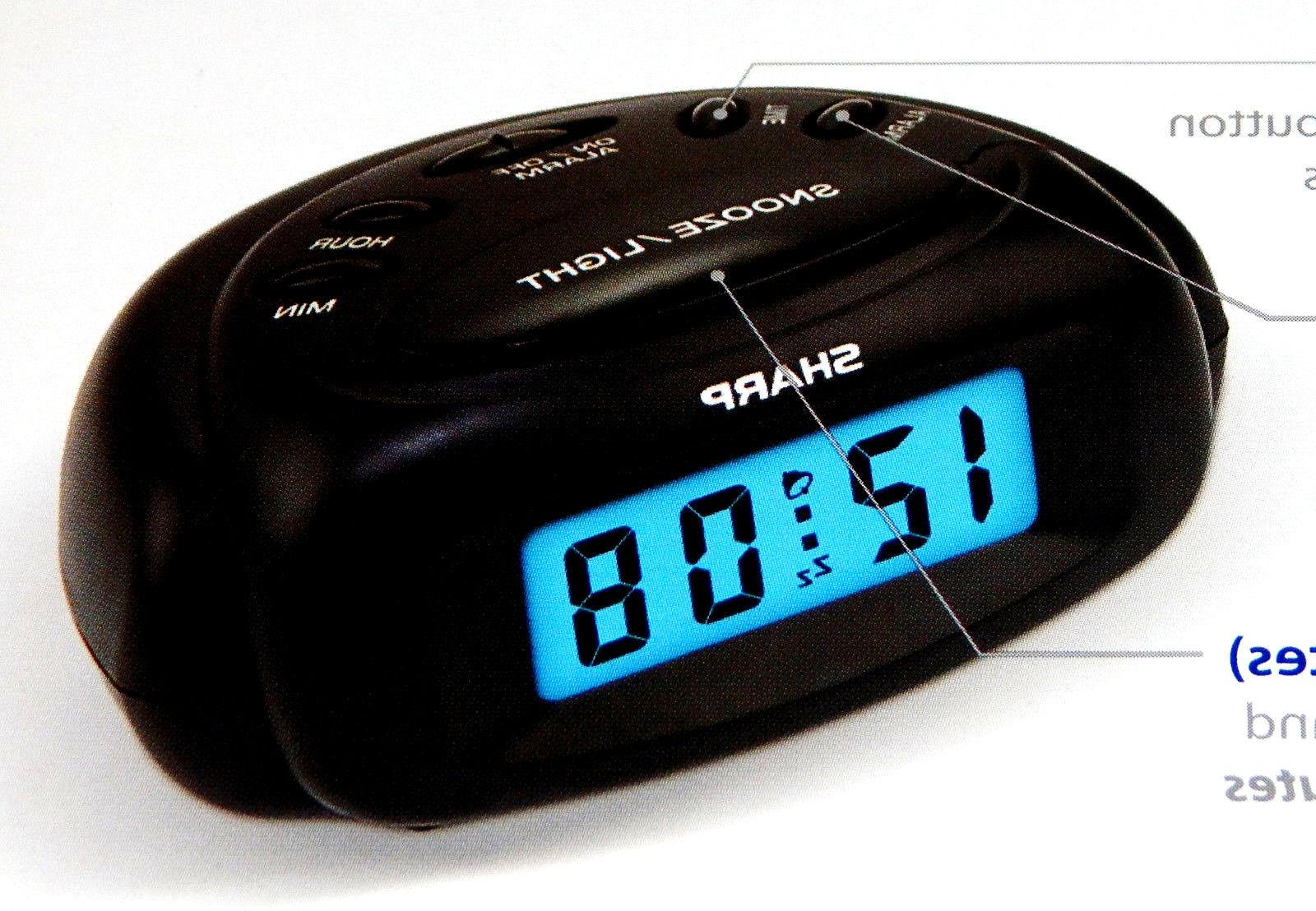 Sharp SPC500A Mini Digital Alarm Clock Battery Power Backlig