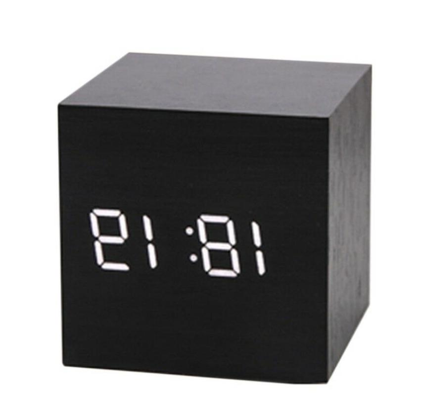 modern cube square wooden wood digital lcd