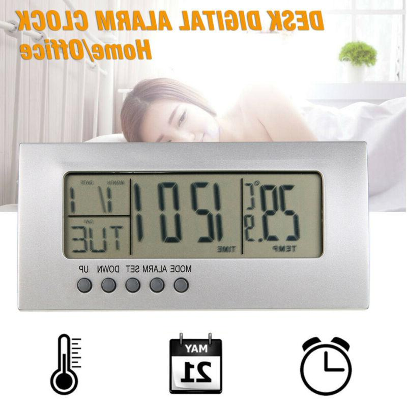 modern digital alarm clock lcd display calendar