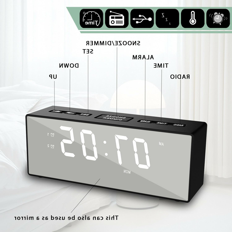 modern mirror usb digital led alarm clock