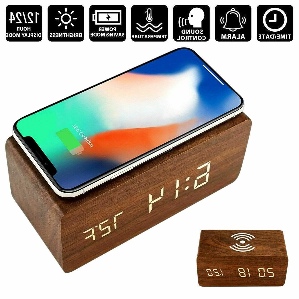 Modern Wooden Digital LED Clock Thermometer Charger