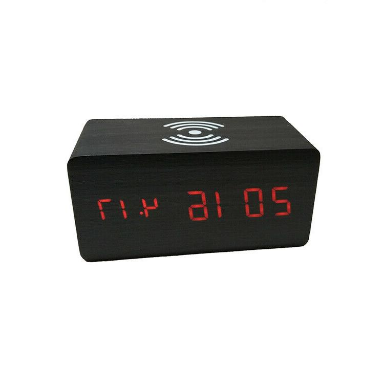 Modern 15 Digital Clock Thermometer Qi Charger