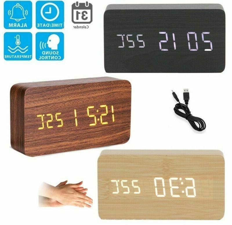 modern wooden usb aaa digital led alarm