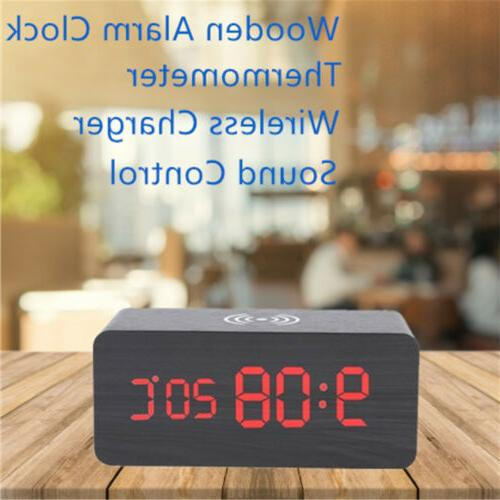 Modern LED Desk Thermometer Qi Wireless Charger