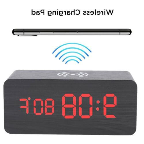 Modern Digital LED Desk Thermometer Qi Wireless