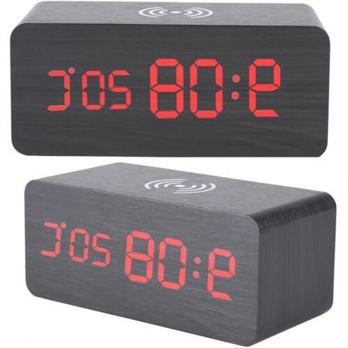 Modern Wood LED Clock Thermometer Wireless Charger