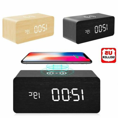 modern wooden wood digital led desk alarm
