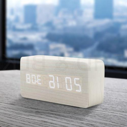 Modern Wooden Digital LED Calendar Thermometer