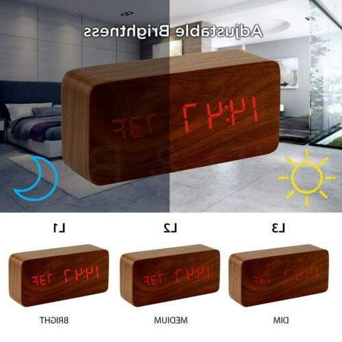Modern Wooden Wood USB/AAA Digital LED