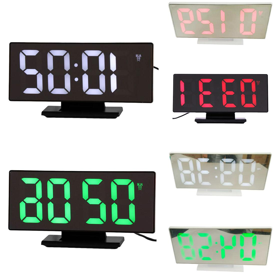 Multifunction Alarm <font><b>Clock</b></font> LED Mirror Snooze Night Desktop reloj despertador <font><b>USB</b></font>