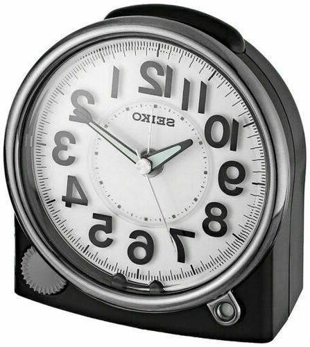 new black alarm clock with quiet sweep