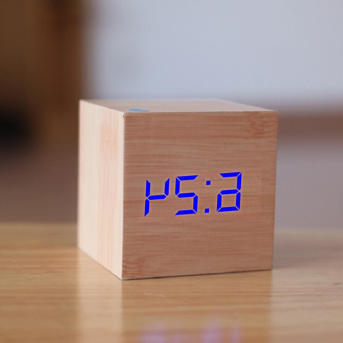 New LED <font><b>Alarm</b></font> <font><b>Clock</b></font> Wood Retro <font><b>Clock</b></font> Table Snooze Function Desk Tools