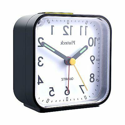 Pluteck Analog Alarm Clock with Nightlight Snooze, Sound