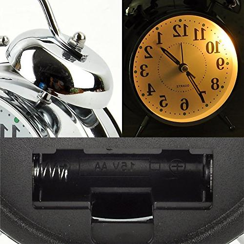Mokeep Alarm Heavy Sleepers Bell Clock with Backlight, Silent Seconds Clock Bedroom, Battery Alarm Clock