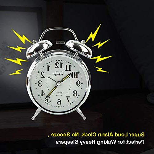Mokeep Heavy Sleepers Bell Clock with Seconds Bedroom, Battery Operated Loud Alarm Clock