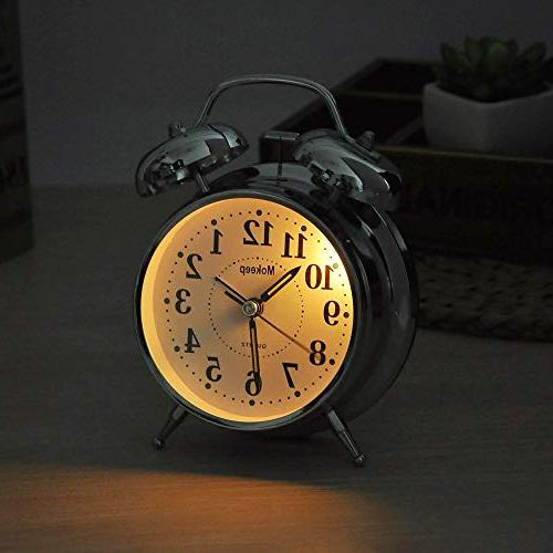 Mokeep for Heavy Sleepers Twin Bell Vintage Alarm Clock with Seconds Clock Bedroom,