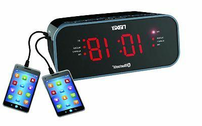 Naxa NRC-182 Black Bluetooth Dual Alarm Clock Radio w/ 2 USB