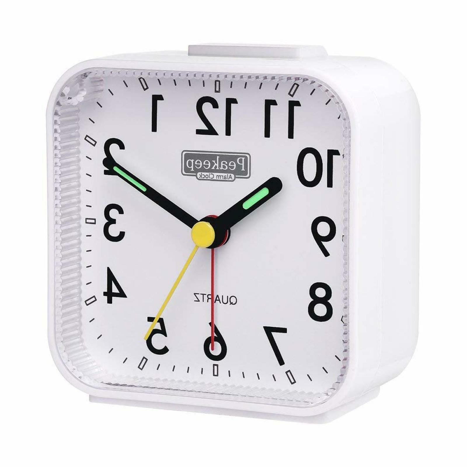 Peakeep Small Analog Alarm Clock Silent No Ticking,