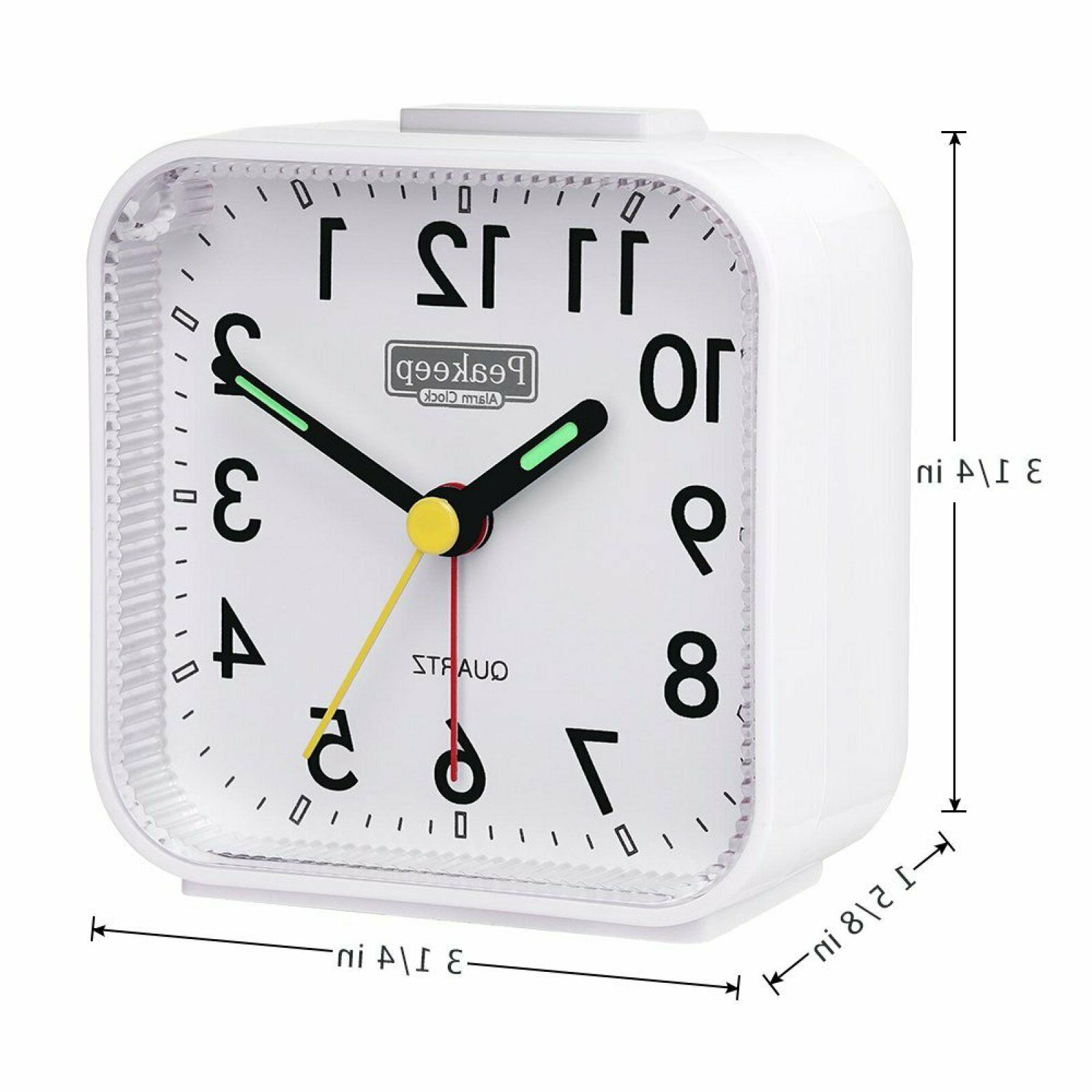 Peakeep Small Analog Alarm Clock Silent