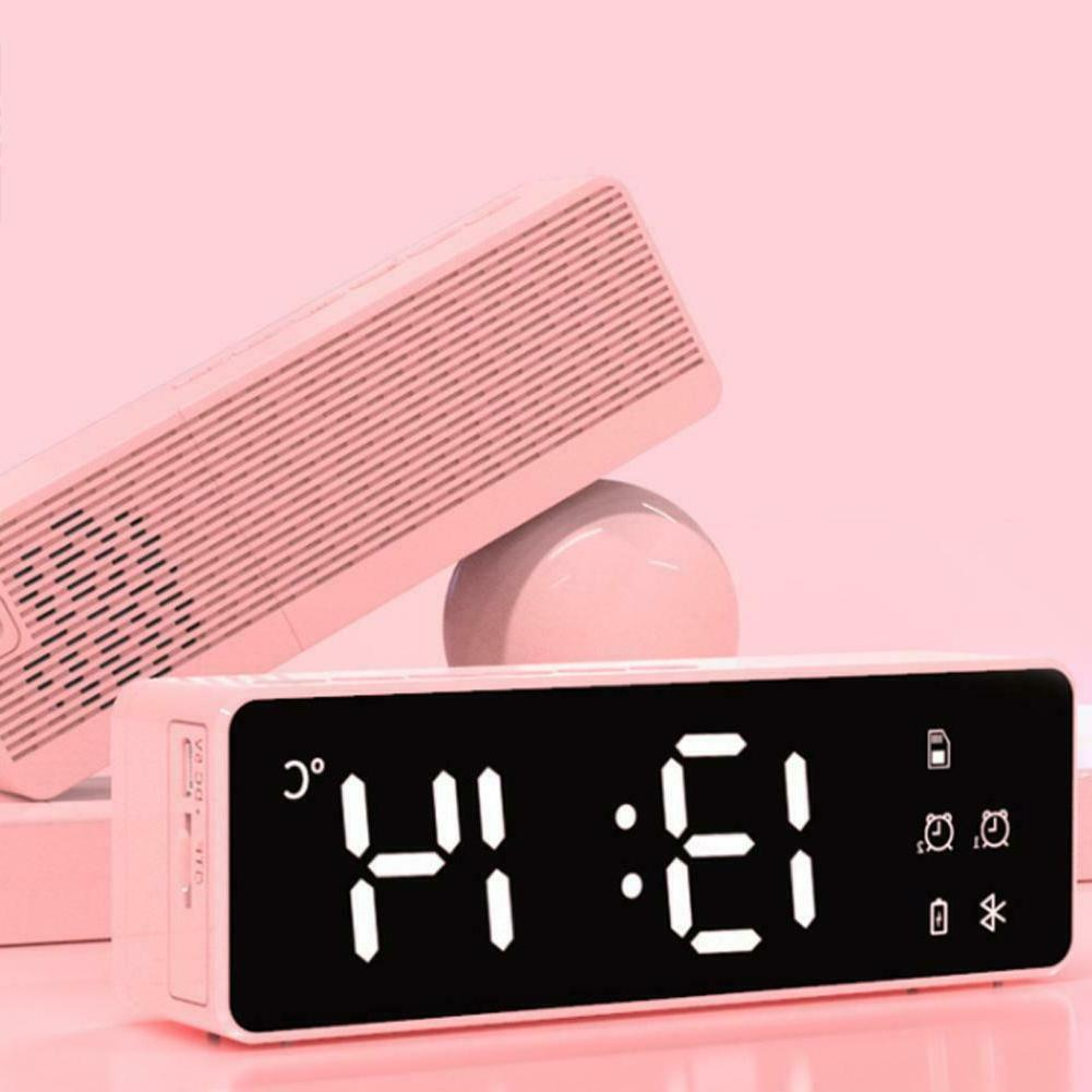 Portable LED Mirror Alarm Clock Speakers